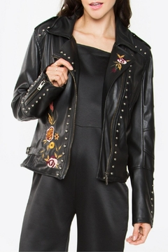 Sugar Lips Embroidered Leather Jacket - Product List Image
