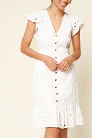 Sugar Lips Eyelet Button-Down Midi-Dress - Product Mini Image