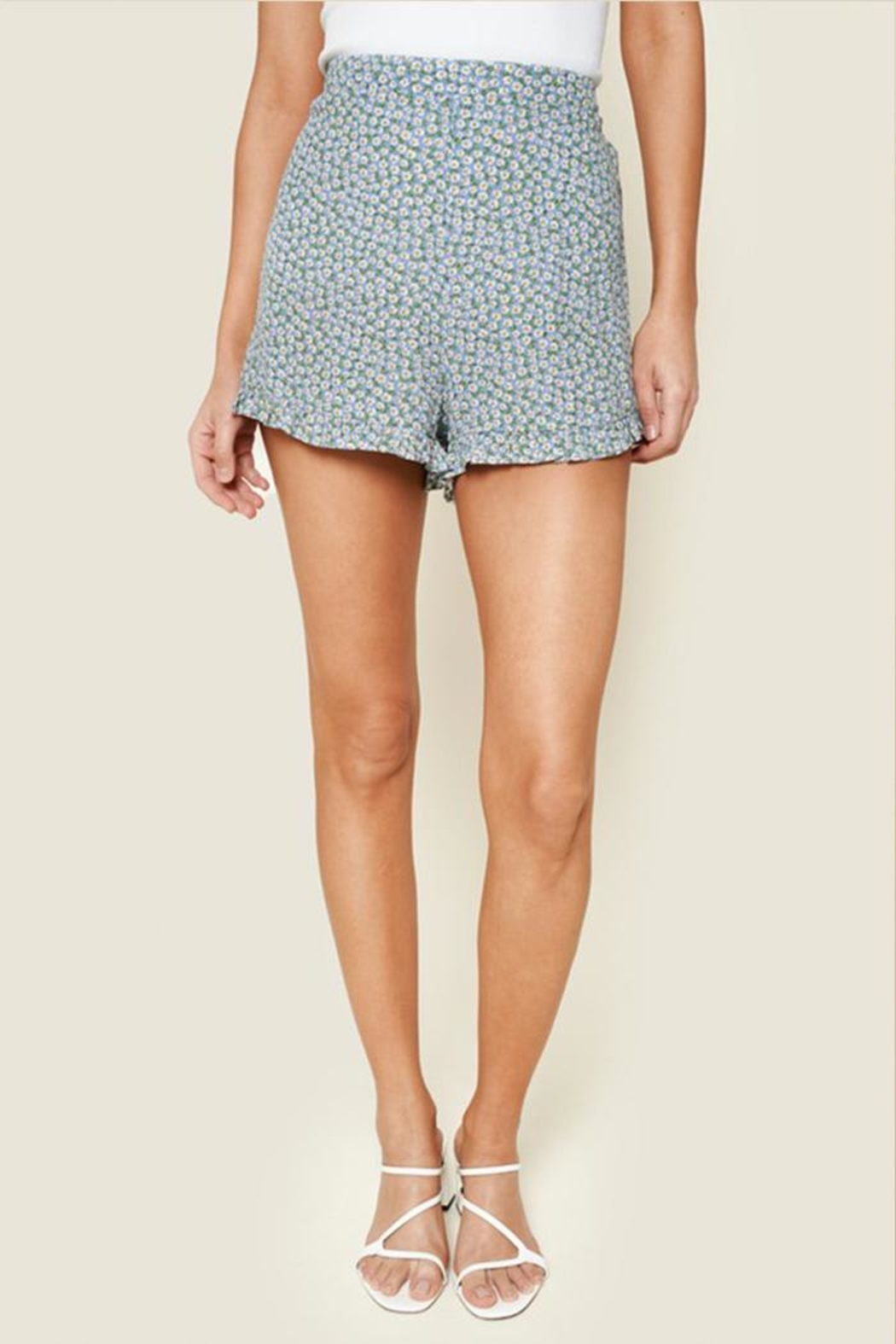 Sugar Lips Floral Ruffle Shorts - Front Cropped Image