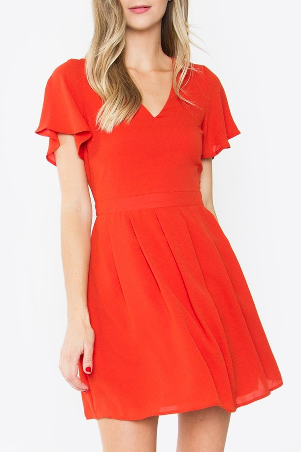 Sugar Lips Flutter-Sleeve Swing Dress - Front Cropped Image