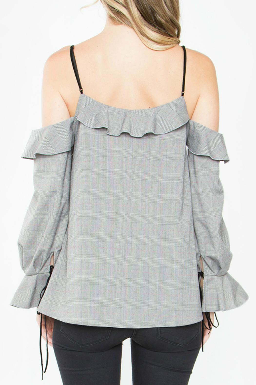 Sugar Lips Grey Cold Shoulder Top - Front Full Image