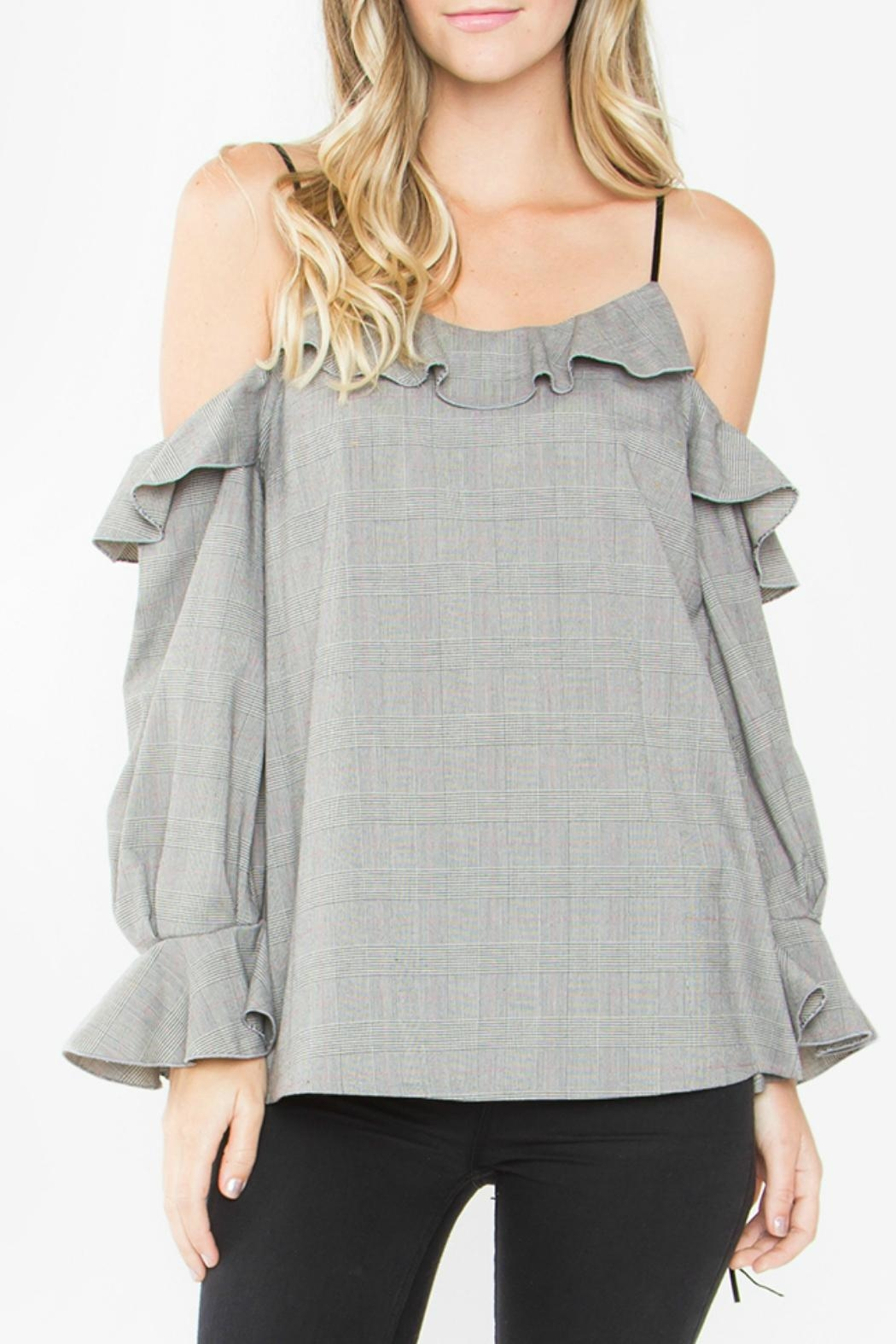 Sugar Lips Grey Cold Shoulder Top - Main Image