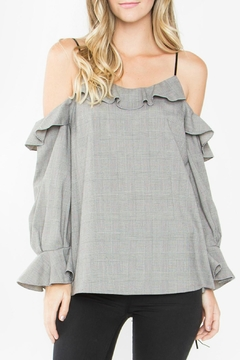 Shoptiques Product: Grey Cold Shoulder Top