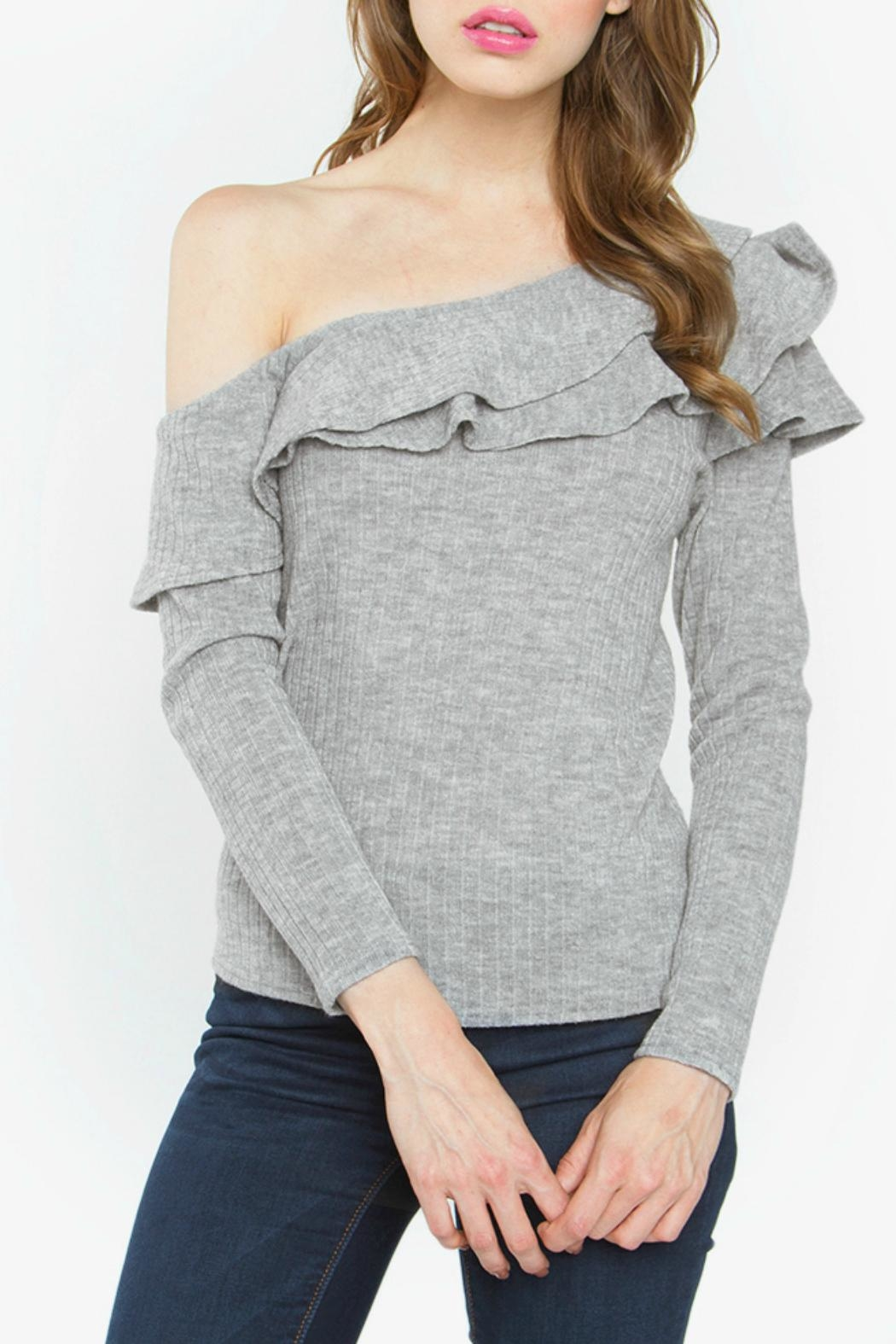 Sugar Lips Grey One Shoulder Top - Front Cropped Image