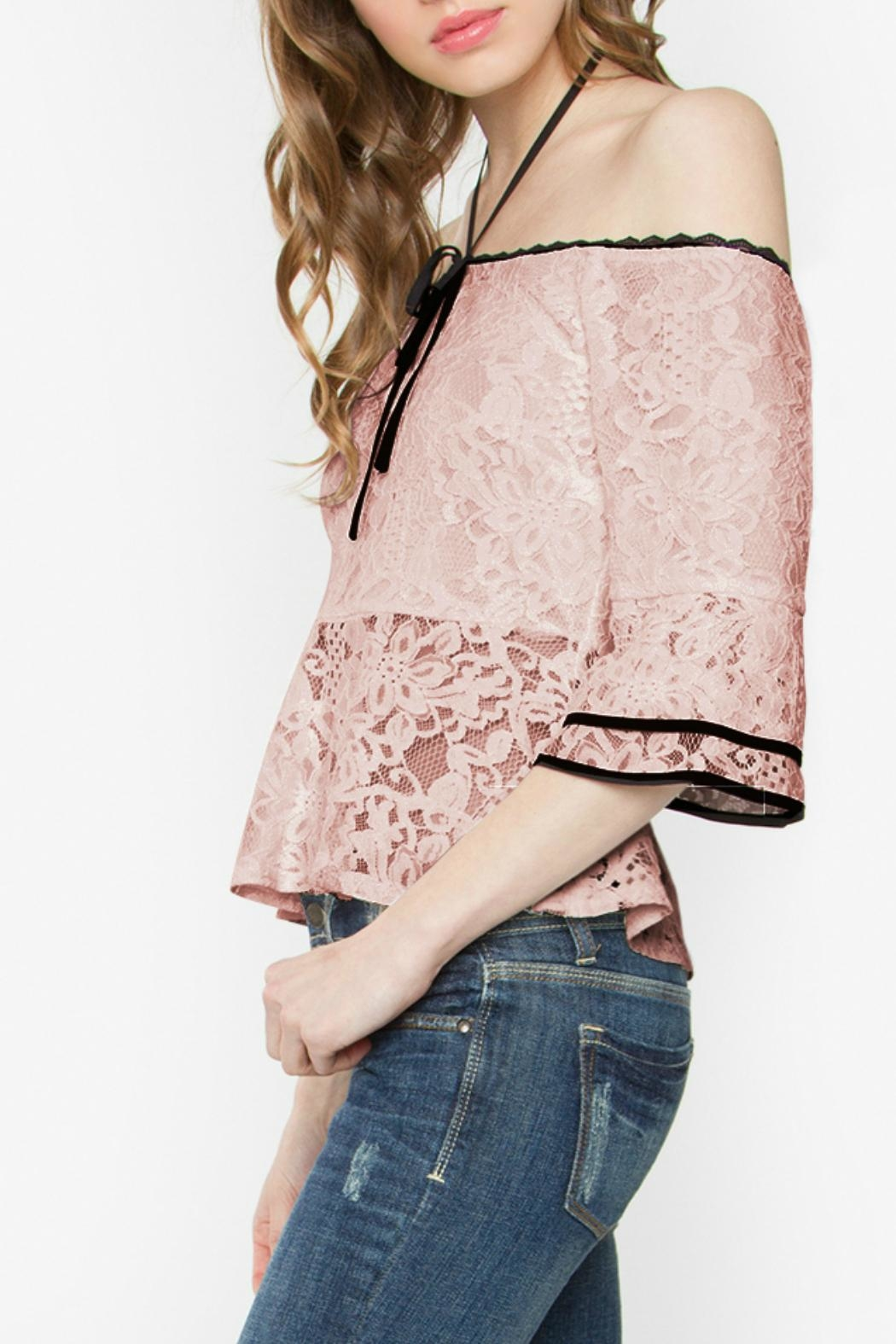 Sugar Lips Lace Peplum Top - Front Full Image