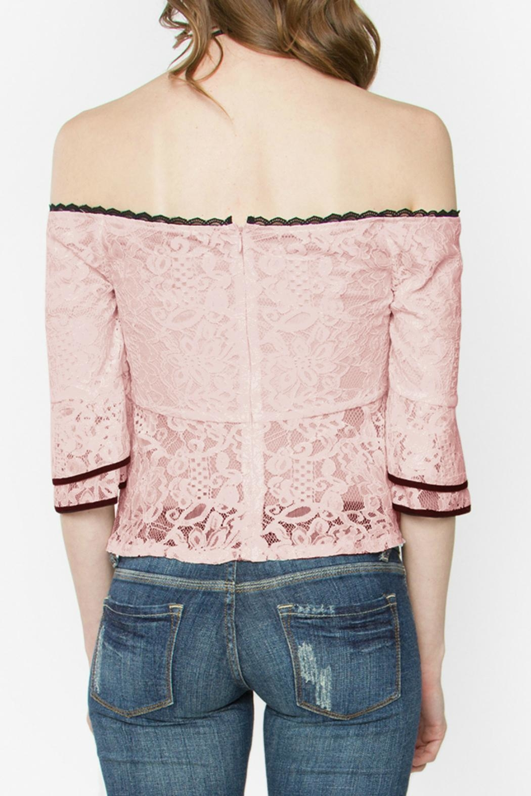 Sugar Lips Lace Peplum Top - Side Cropped Image