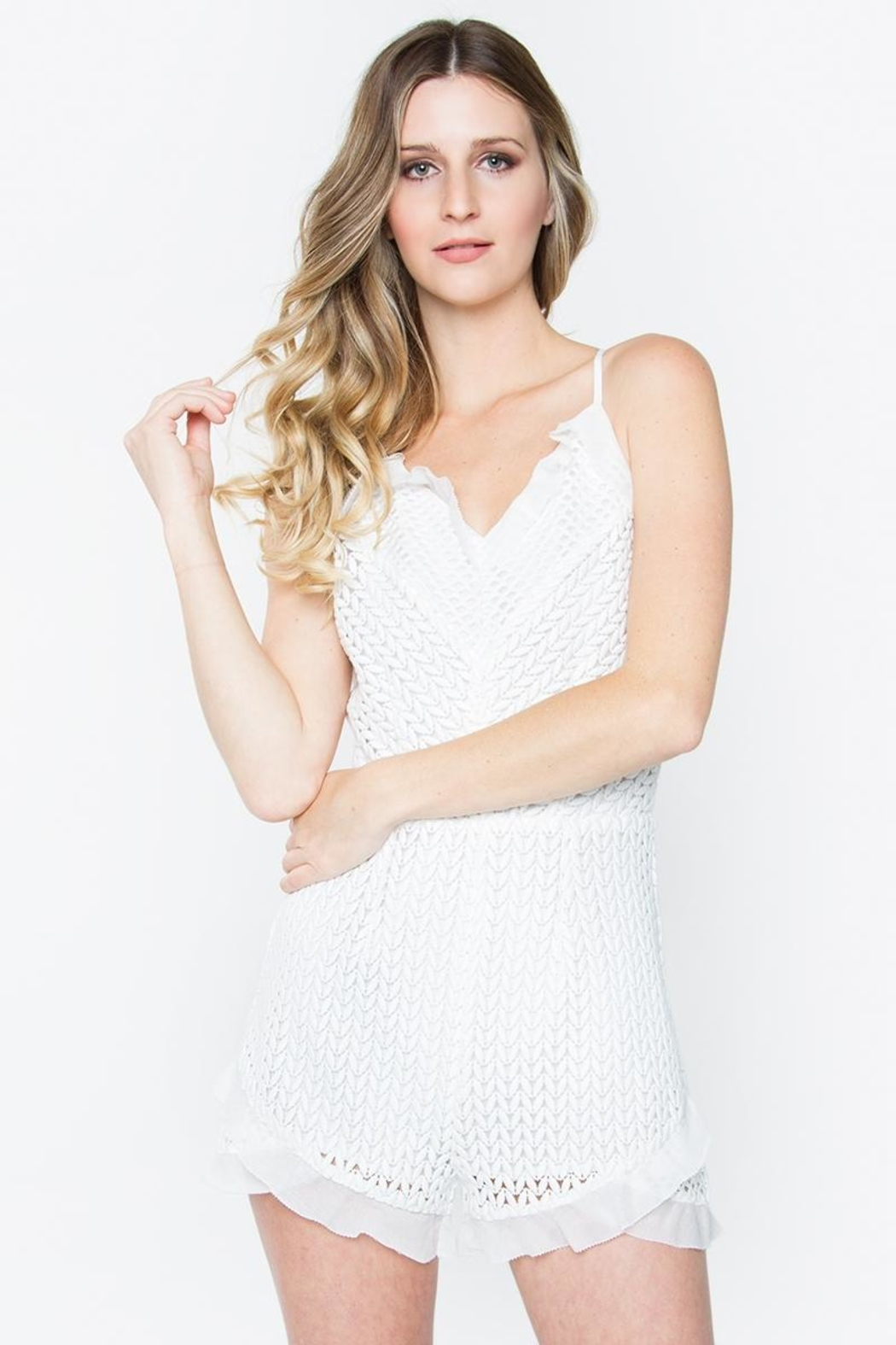 Sugar Lips Lace Ruffle Romper - Front Cropped Image
