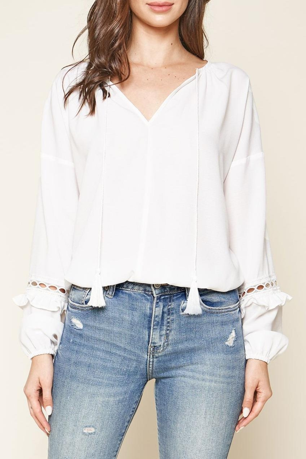Sugar Lips Lace Trim Blouse - Front Full Image