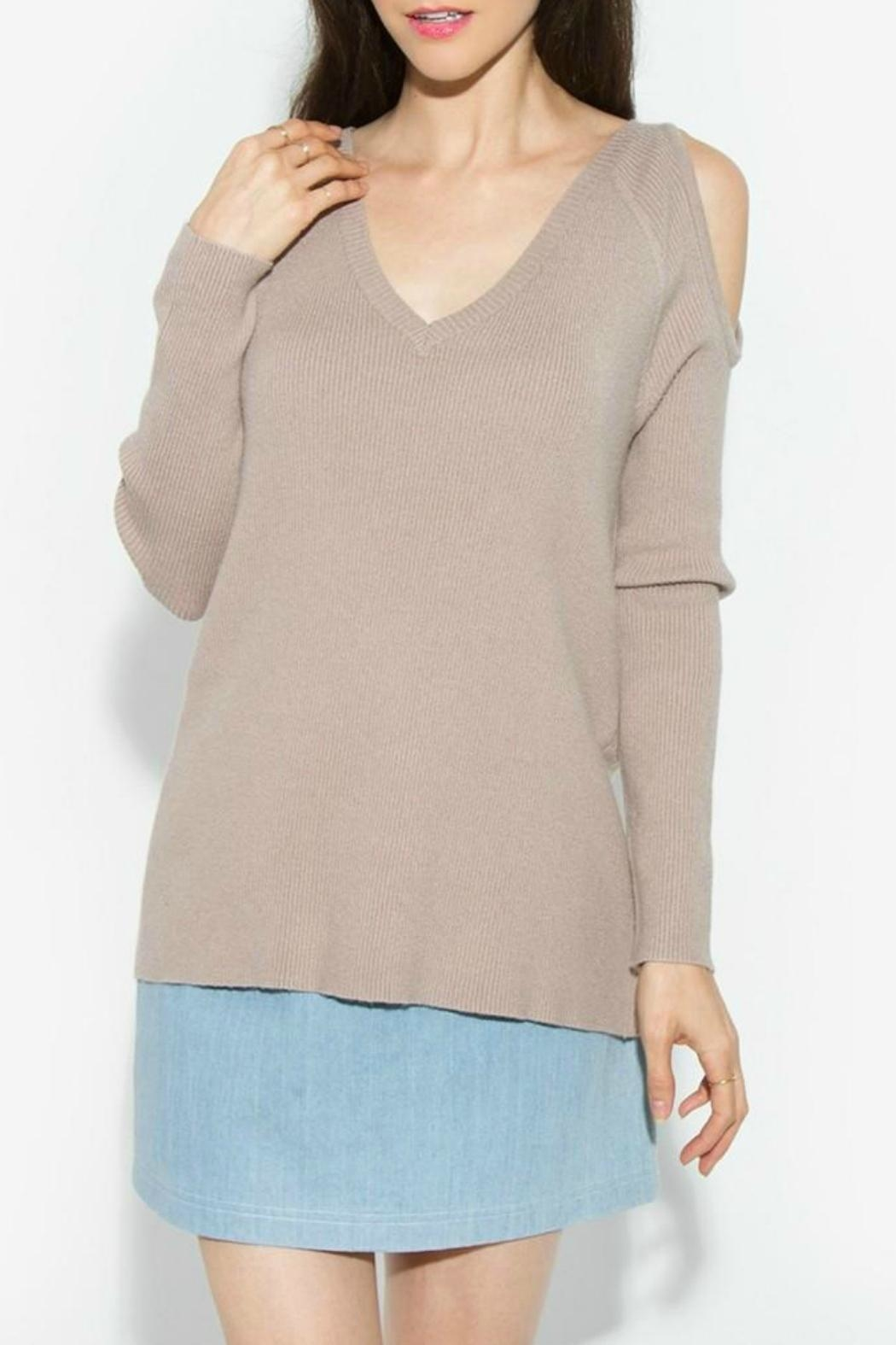 Sugar Lips Lune Cold Shoulder Sweater - Main Image