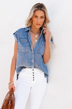 Sugar Lips Mariden Chambray Button Down Top - Product List Image