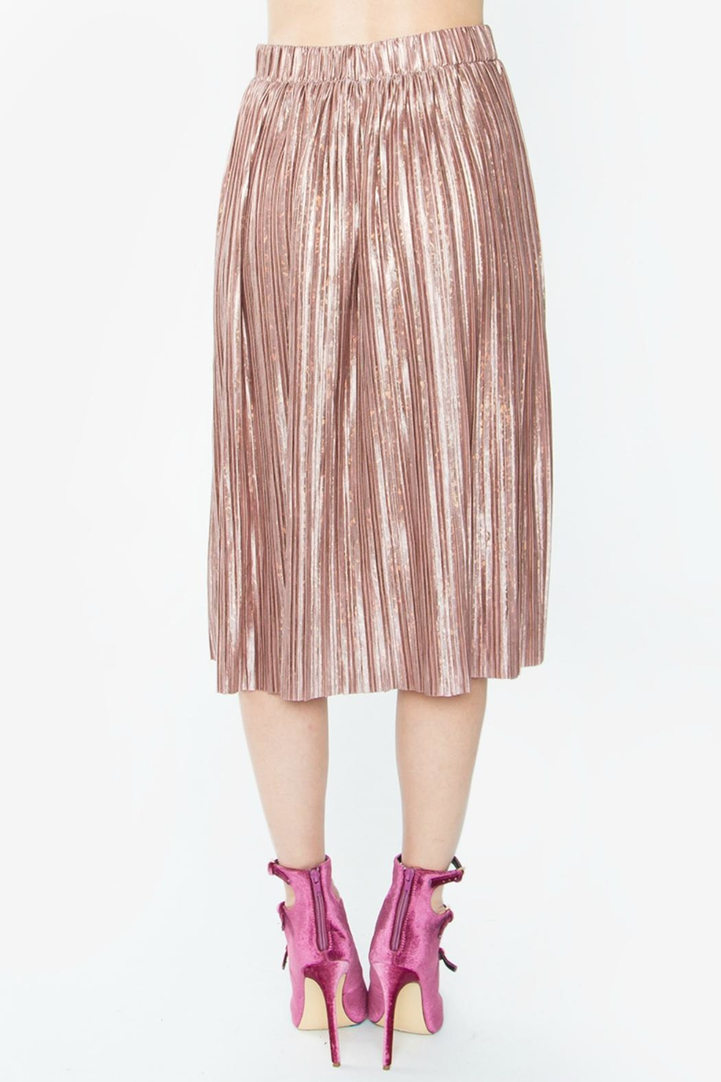 Sugar Lips Minori Pleated Metallic Skirt - Front Full Image