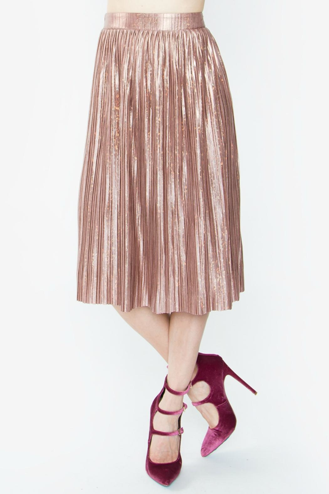 Sugar Lips Minori Pleated Metallic Skirt - Main Image
