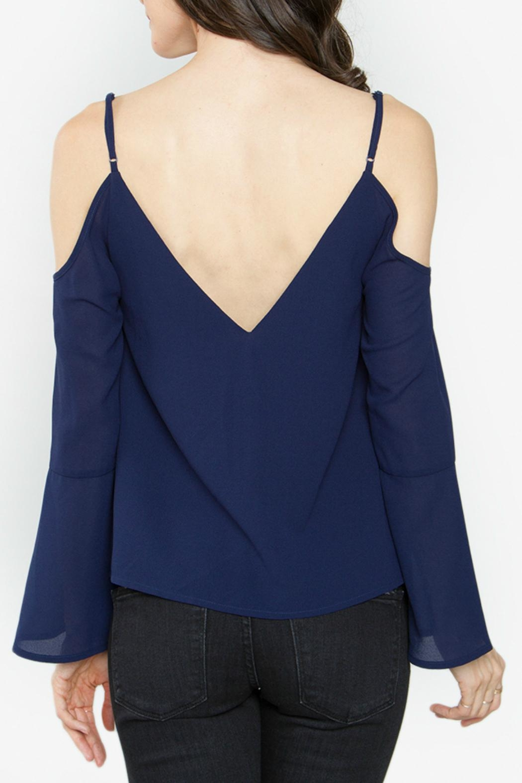 Sugar Lips Navy Cold Shoulder Top - Front Full Image