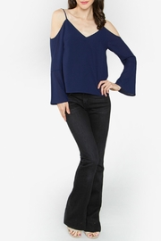 Sugar Lips Navy Cold Shoulder Top - Side cropped