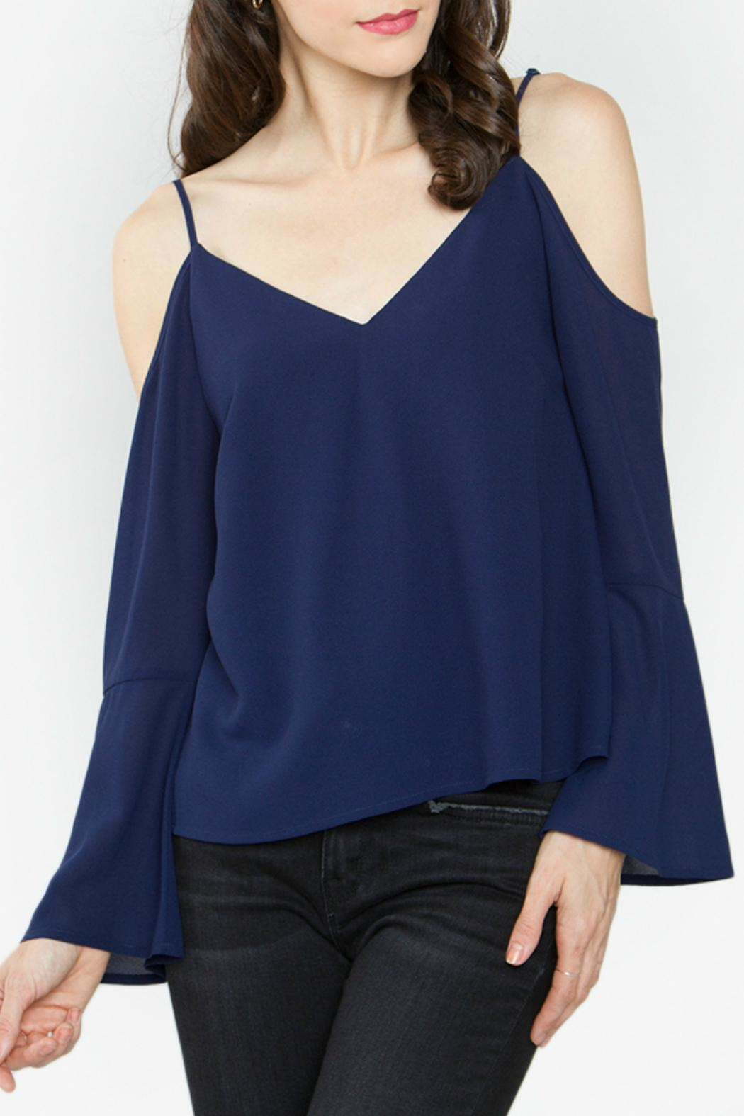Sugar Lips Navy Cold Shoulder Top - Front Cropped Image