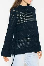 Sugar Lips Navy Crochet Sweater - Front cropped
