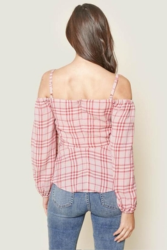 Sugar Lips Off Shoulder Plaid Top - Alternate List Image