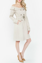 Sugar Lips Off Shoulder Trench Coat - Front full body