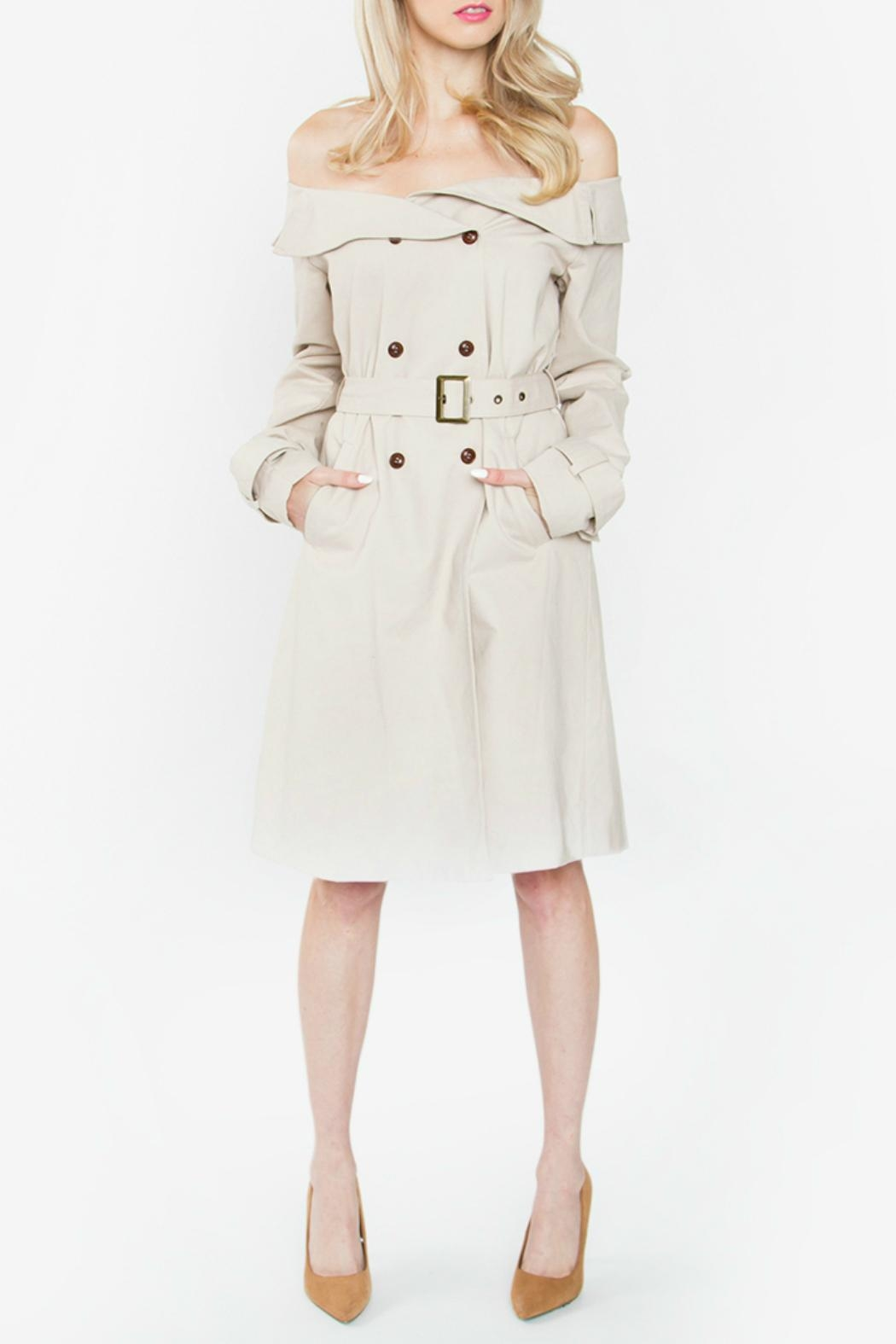 Sugar Lips Off Shoulder Trench Coat - Front Cropped Image