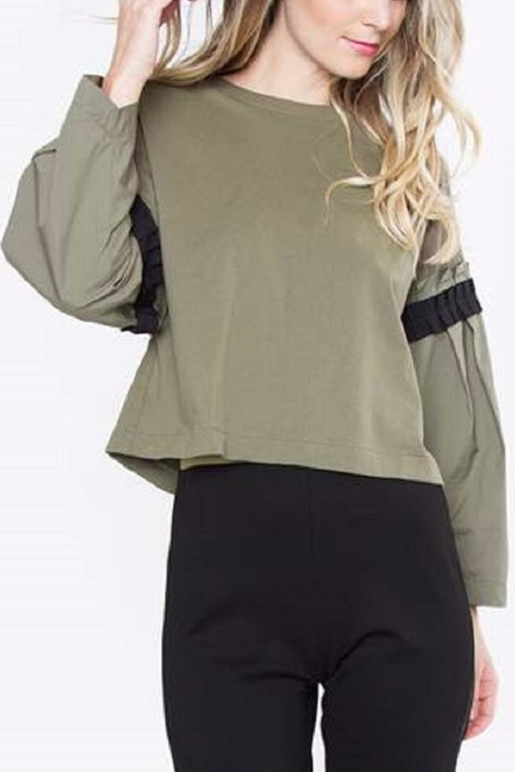 Sugar Lips Olive Poplin Top - Front Cropped Image