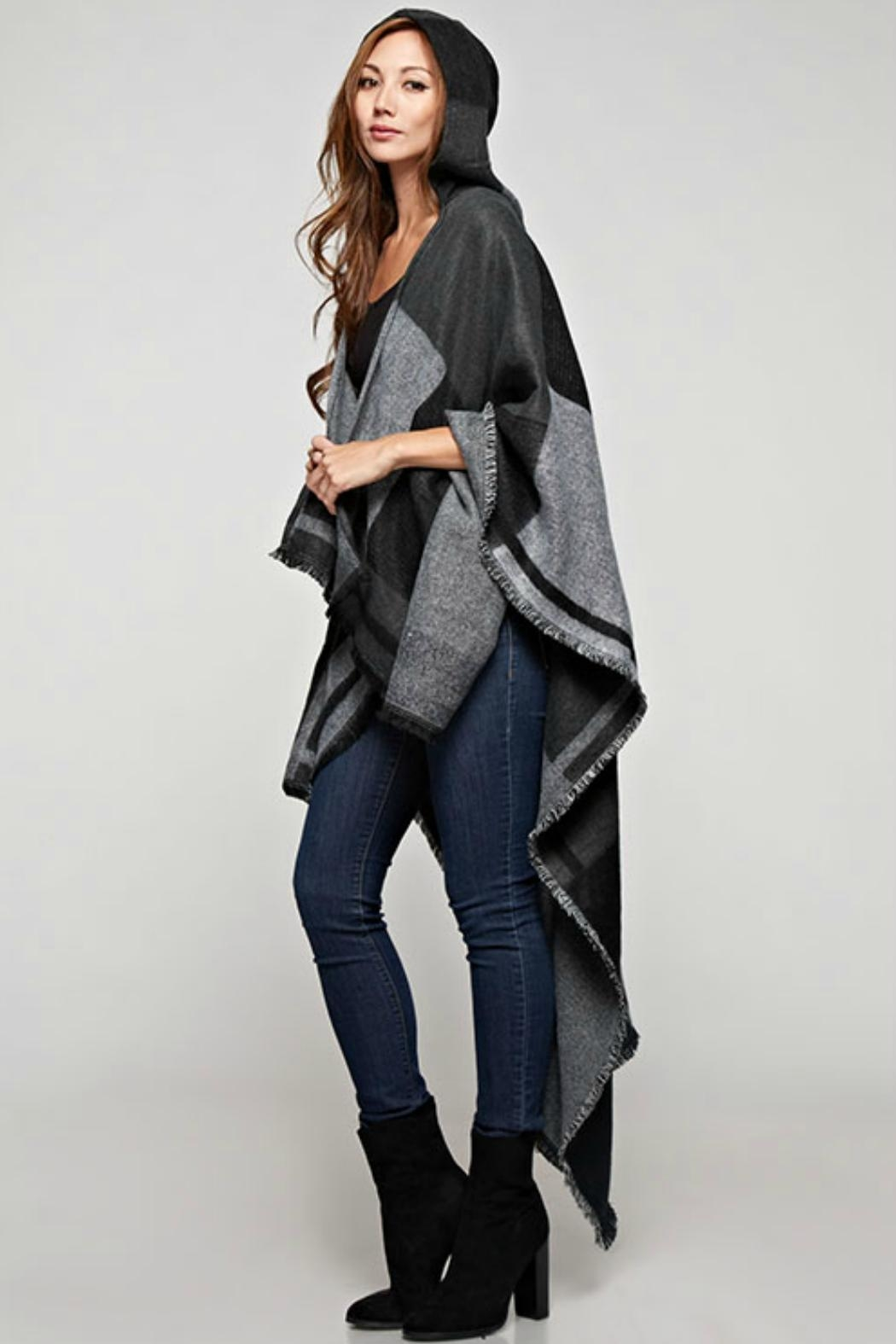 Sugar Lips Plaid Hooded Poncho - Side Cropped Image