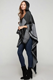 Sugar Lips Plaid Hooded Poncho - Side cropped