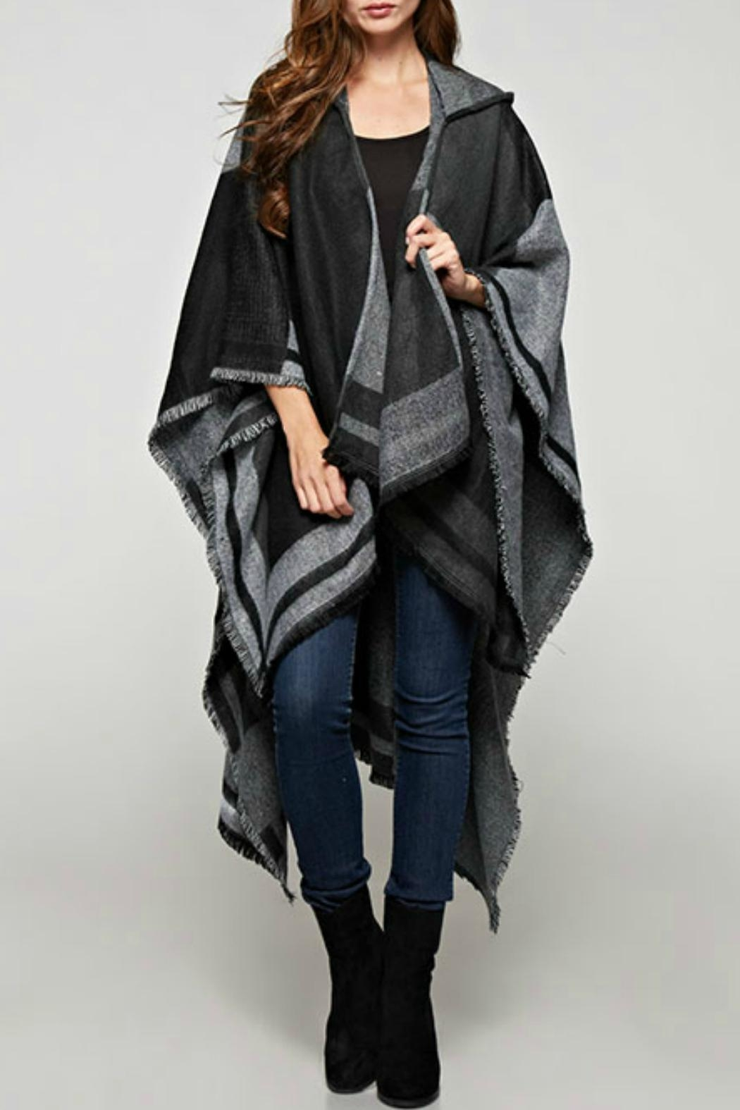Sugar Lips Plaid Hooded Poncho - Main Image