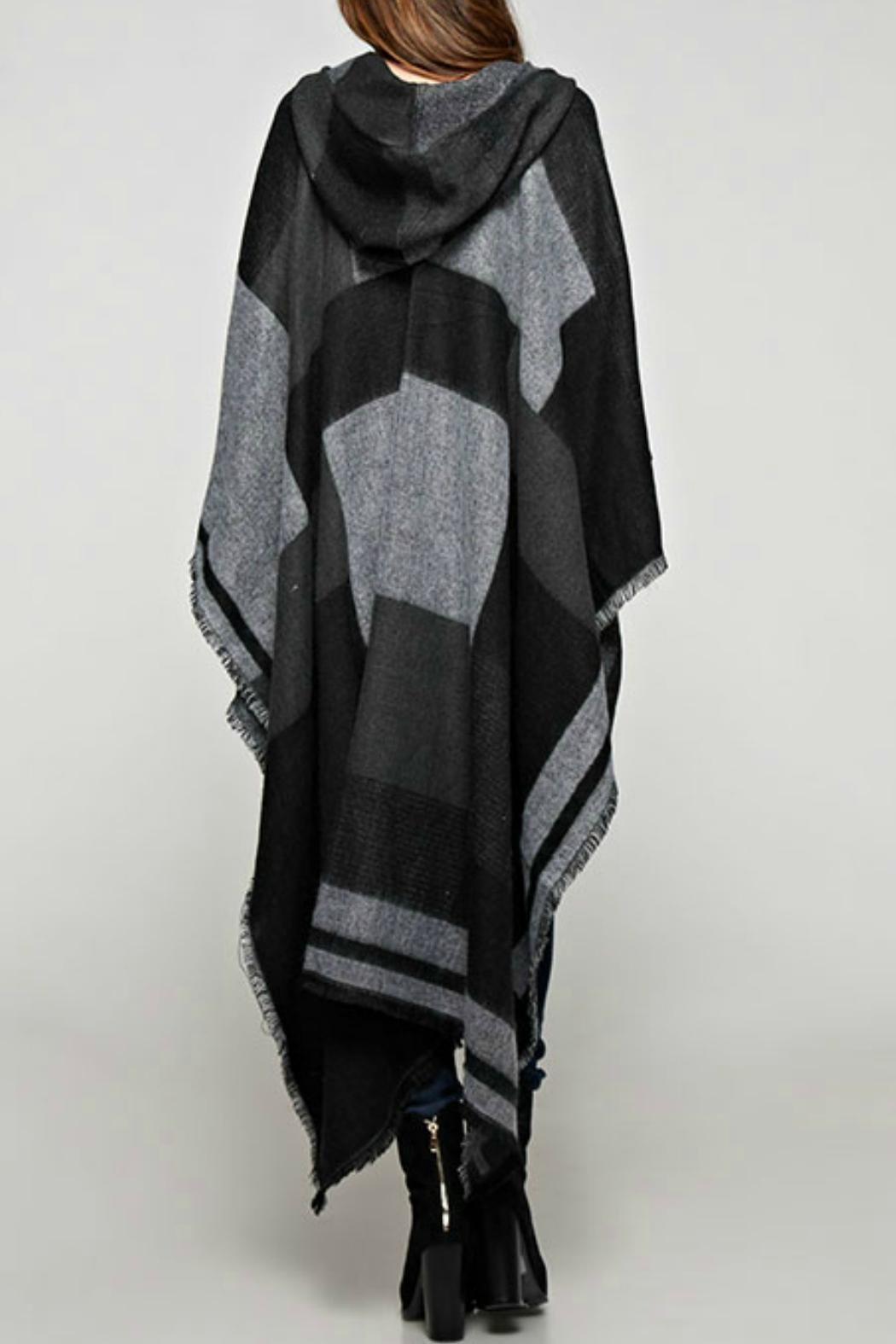 Sugar Lips Plaid Hooded Poncho - Front Full Image