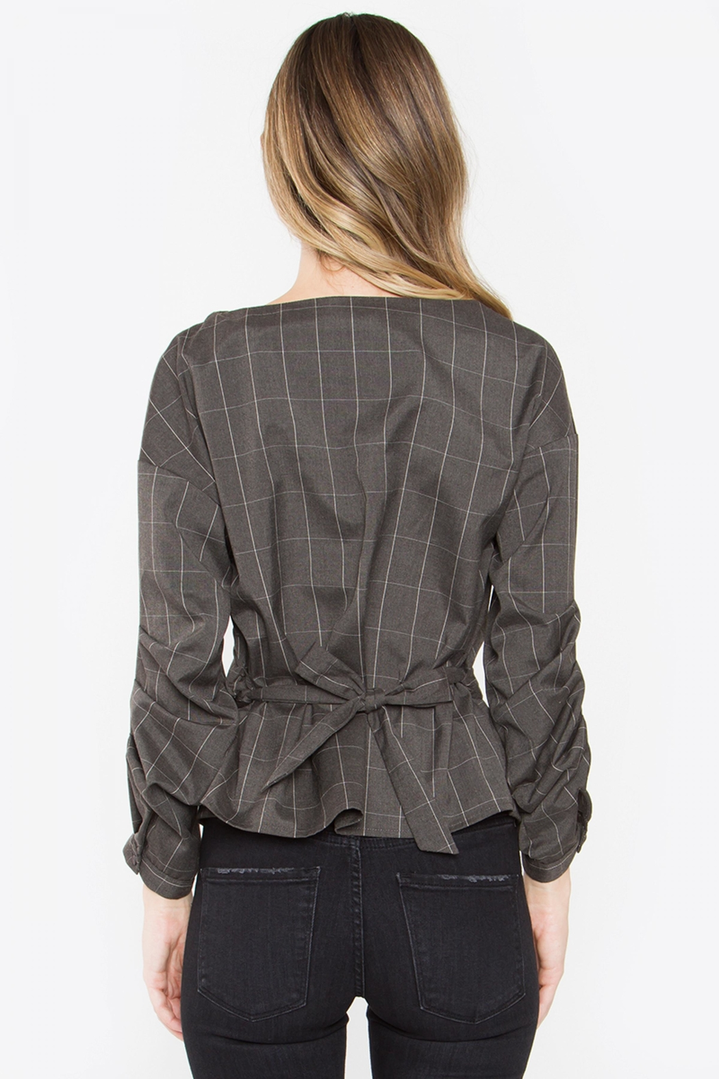 Sugar Lips Plaid Wrap Top - Front Full Image