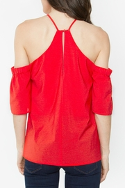 Sugar Lips Red Cold-Shoulder Top - Front full body