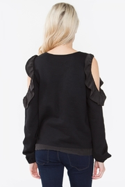 Sugar Lips Ruffle Cold Shoulder Top - Front full body