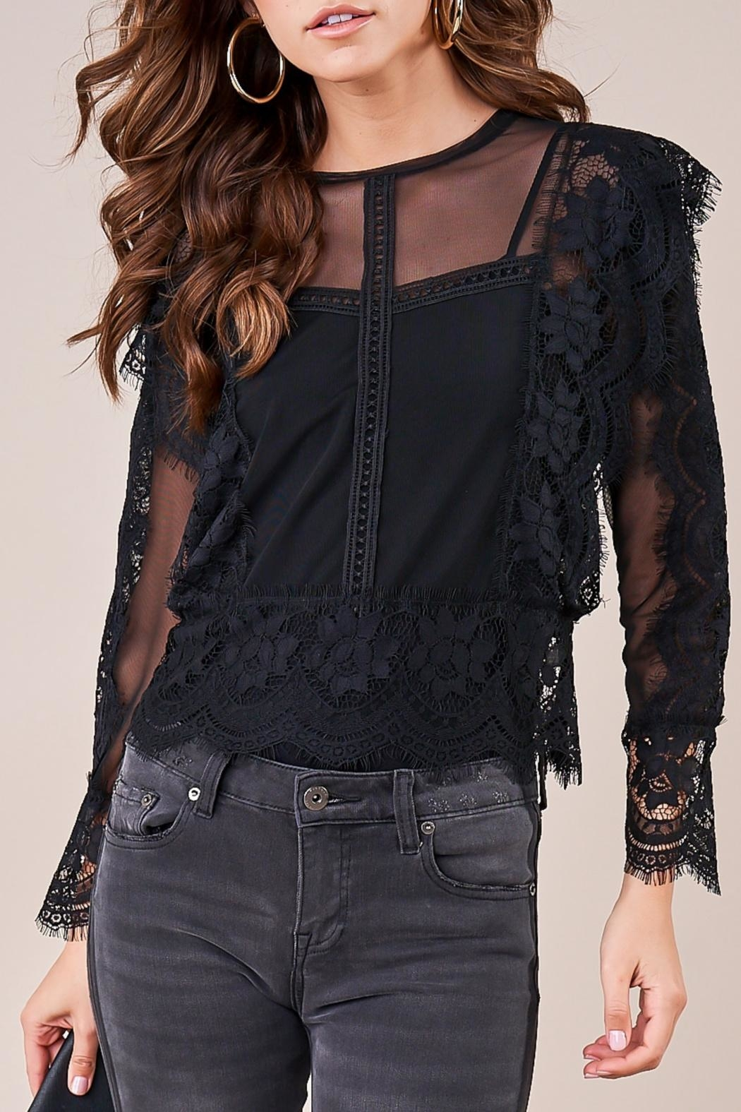 Sugar Lips Sheer Lace Blouse - Front Cropped Image