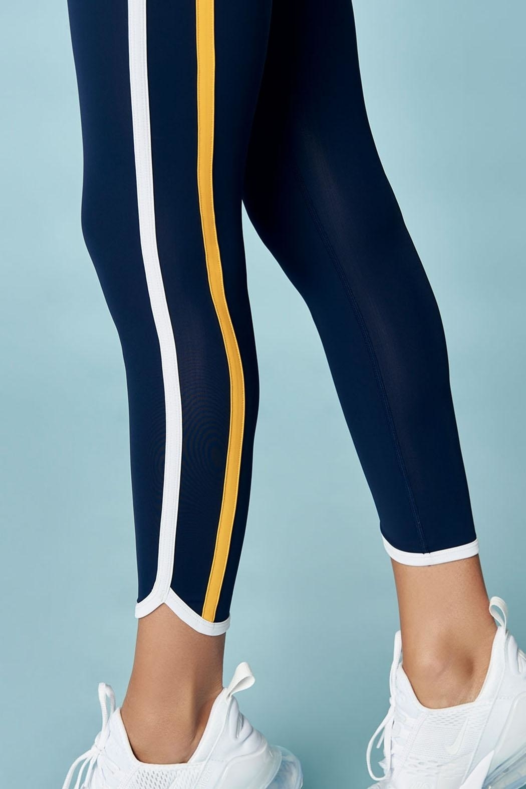 Sugar Lips Striped Nautical Athletic Leggings - Side Cropped Image
