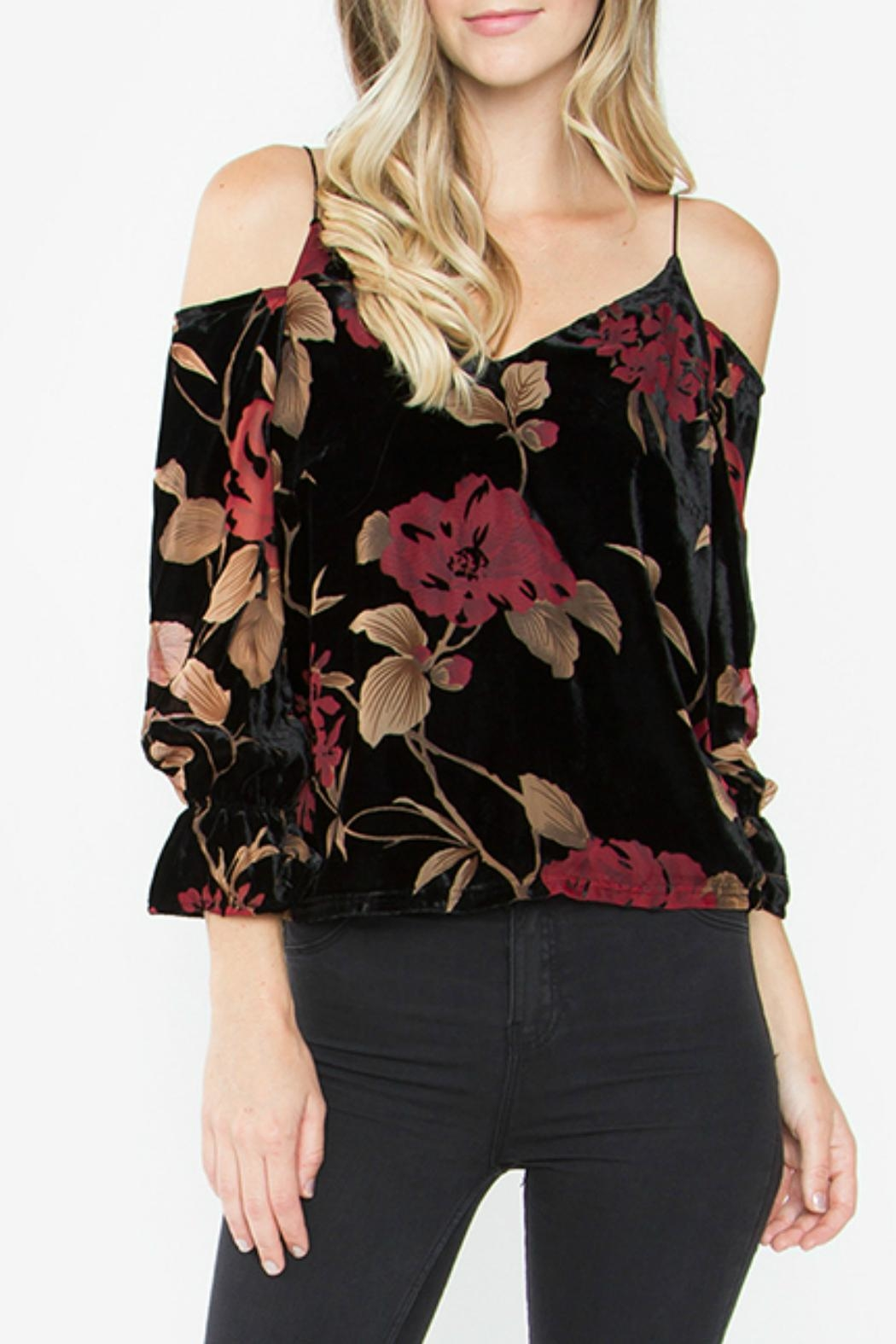 Sugar Lips Velvet Cold Shoulder Top - Front Cropped Image