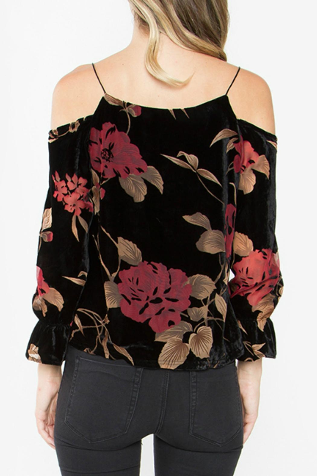 Sugar Lips Velvet Cold Shoulder Top - Front Full Image
