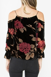 Sugar Lips Velvet Cold Shoulder Top - Front full body