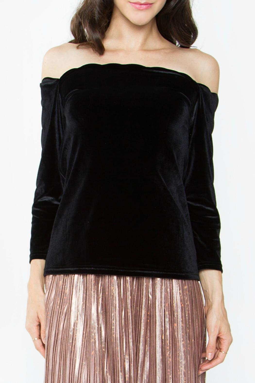 Sugar Lips Velvet Off Shoulder Top - Front Cropped Image