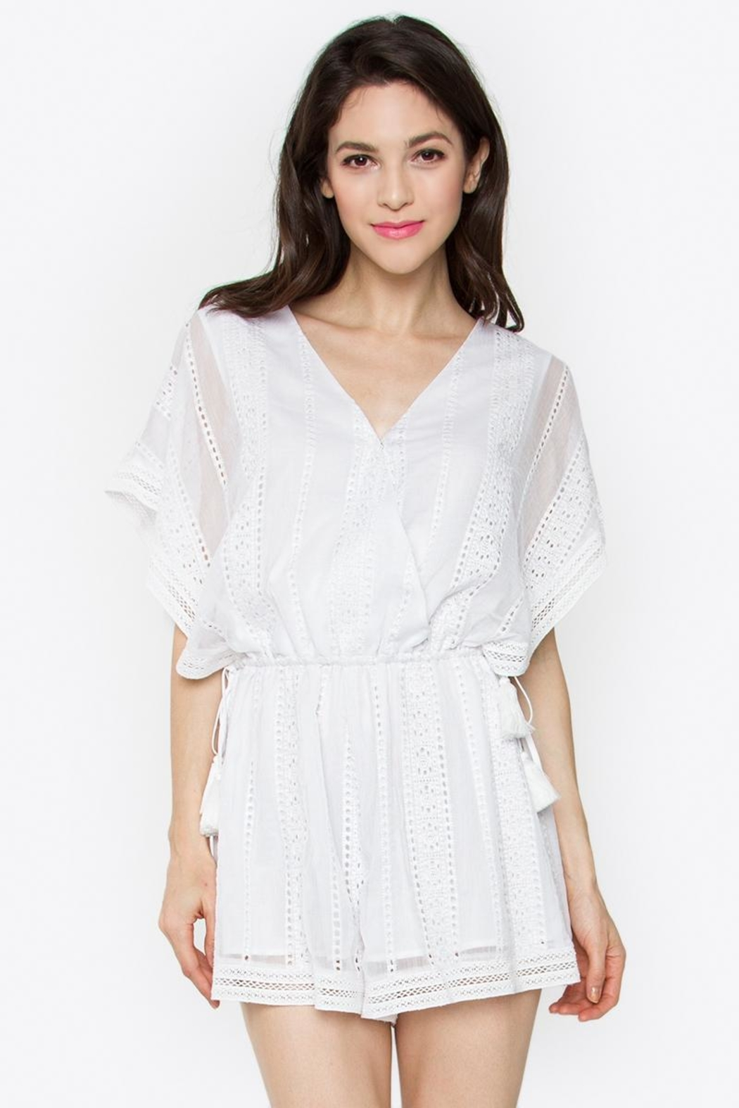 Sugar Lips White Chiffon Romper - Front Cropped Image