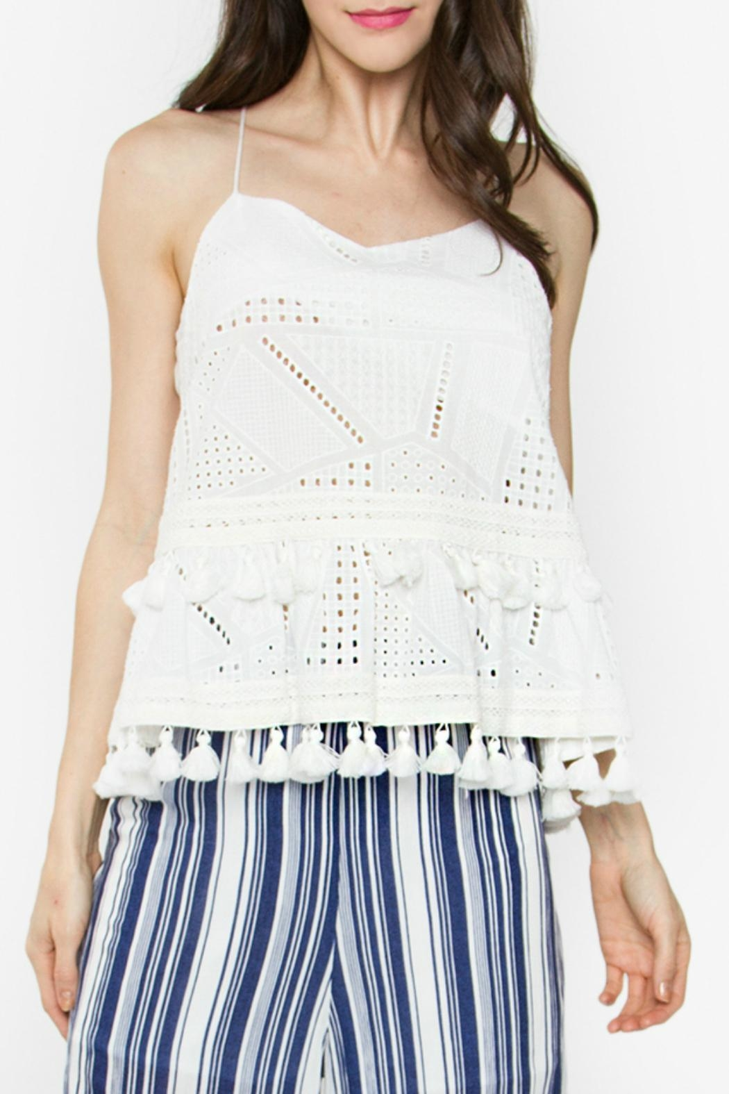 Sugar Lips White Eyelet Top - Front Cropped Image