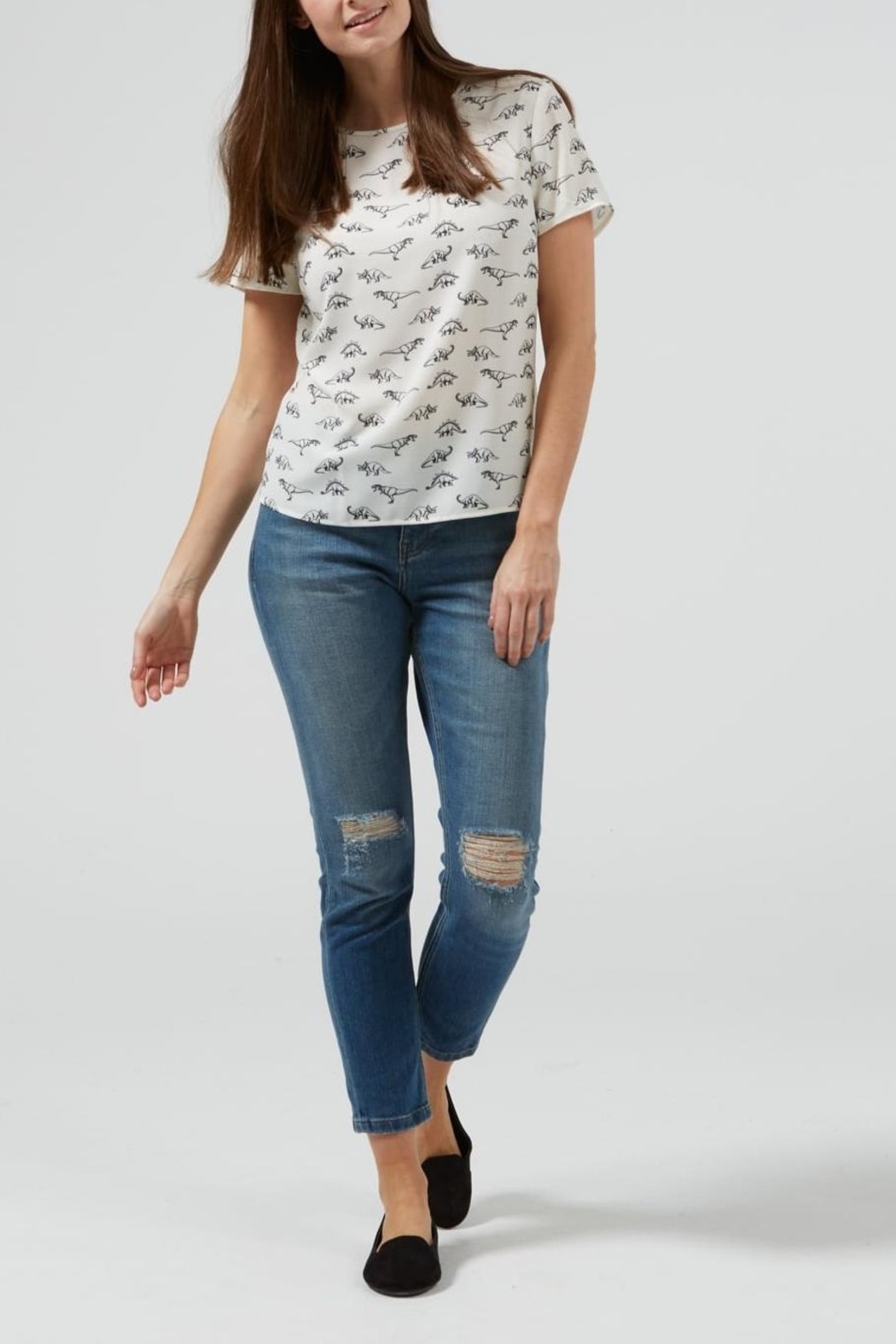 Sugarhill Boutique Dinosaur Print Top - Side Cropped Image