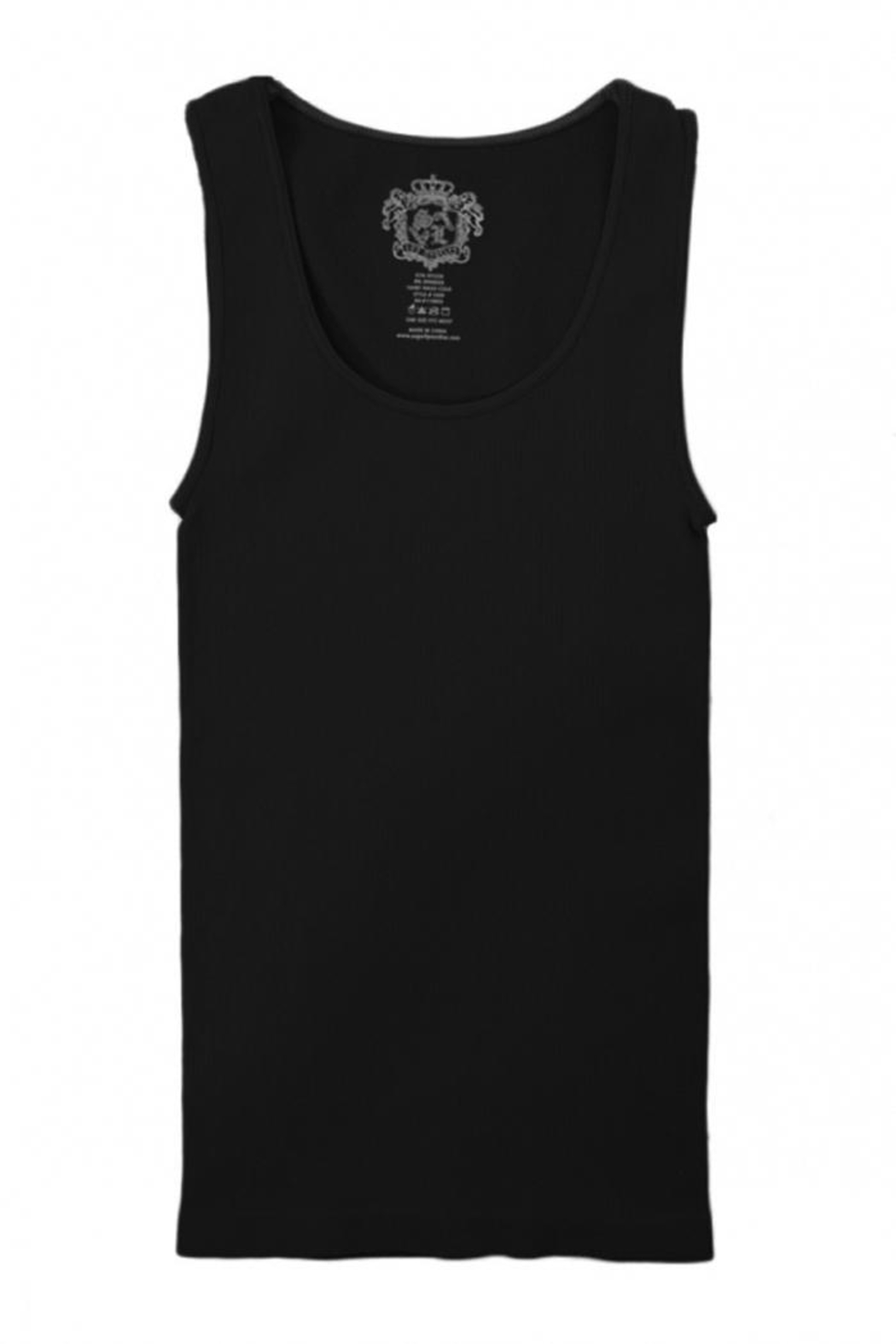 Sugarlips Black Ribbed Tank - Front Cropped Image