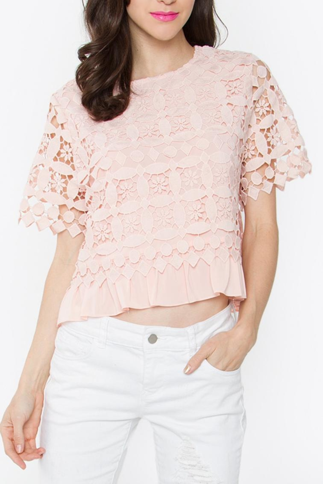 Sugarlips Blush Crochet Top - Front Cropped Image