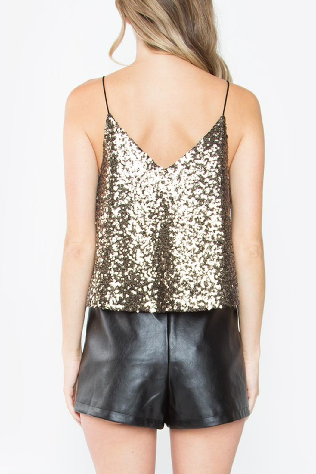 Sugarlips Cropped Sequin Top - Back Cropped Image