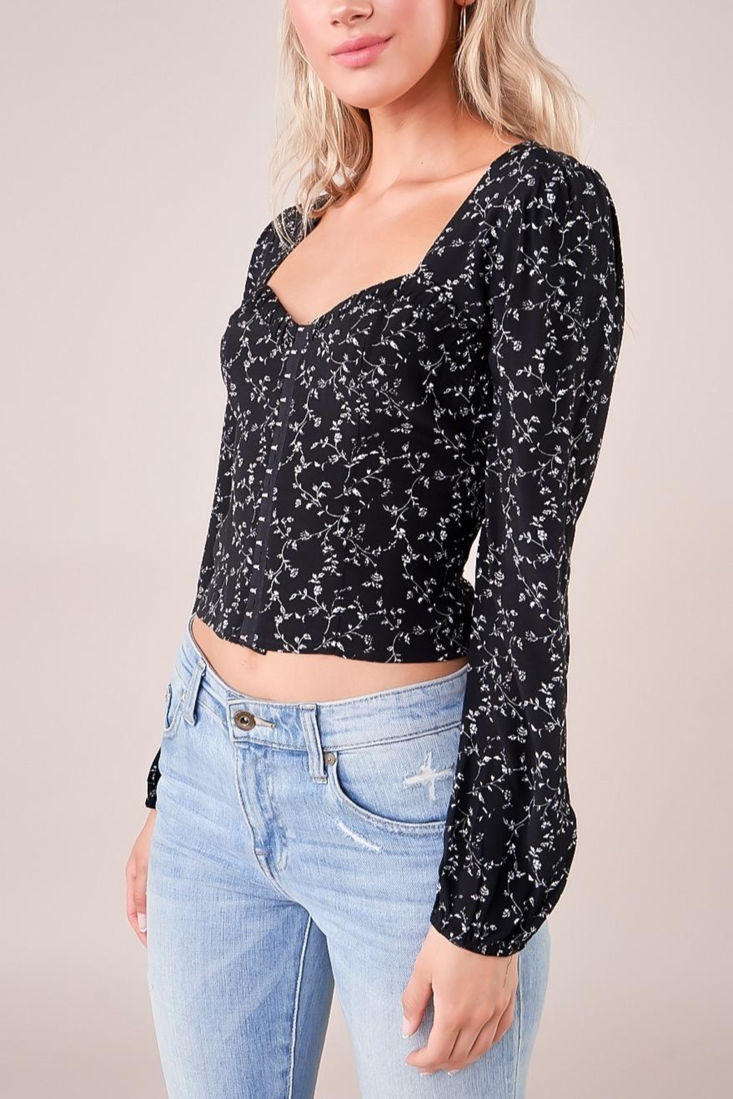 Sugarlips Floral Bustier Top - Front Full Image