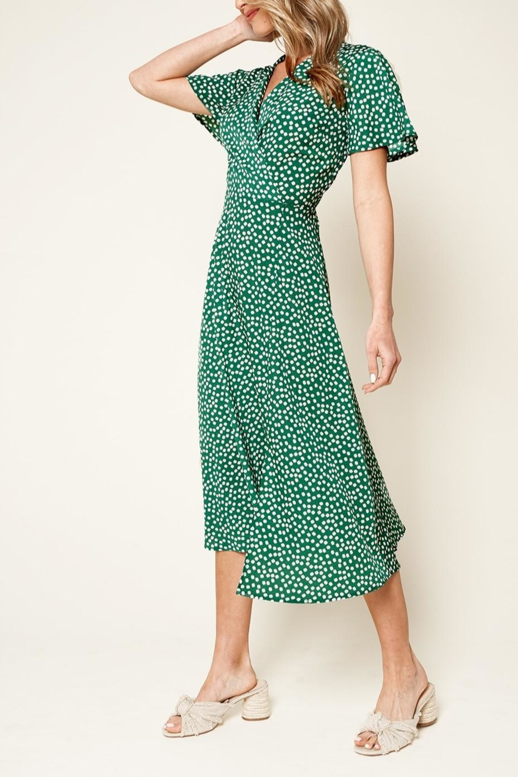 Sugarlips Floral Faux Wrap Midi Dress - Front Full Image