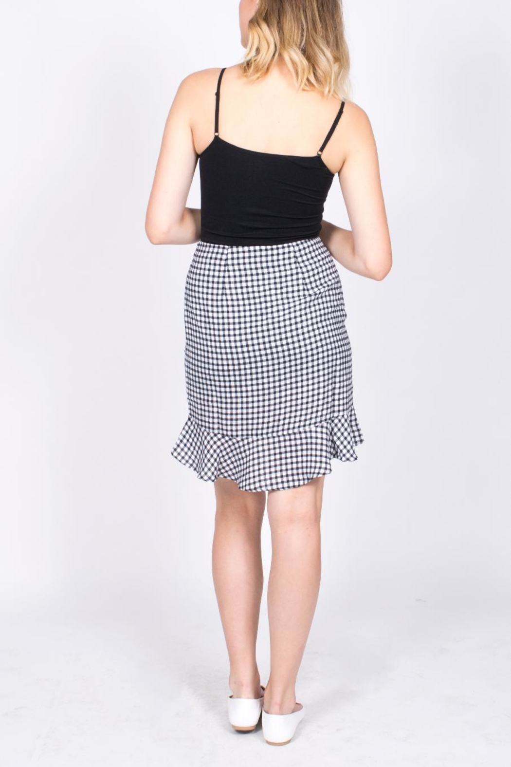 Sugarlips Gingham Ruffle Skirt - Side Cropped Image