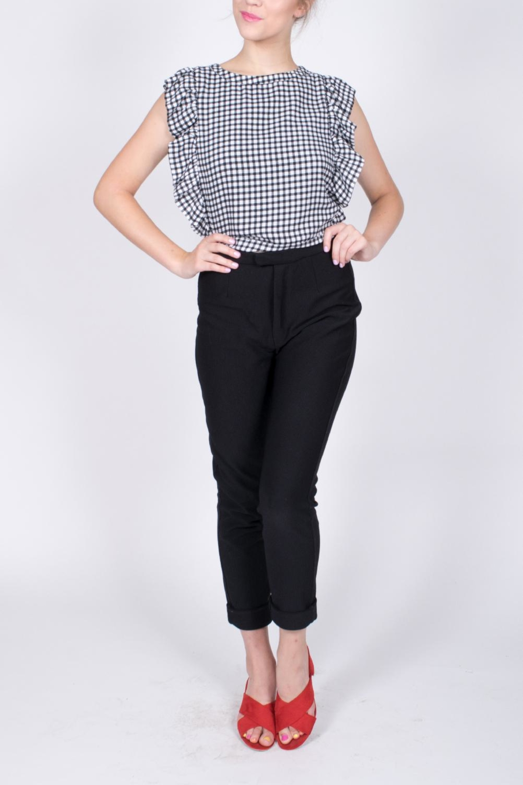 Sugarlips Gingham Ruffle Crop Top - Back Cropped Image