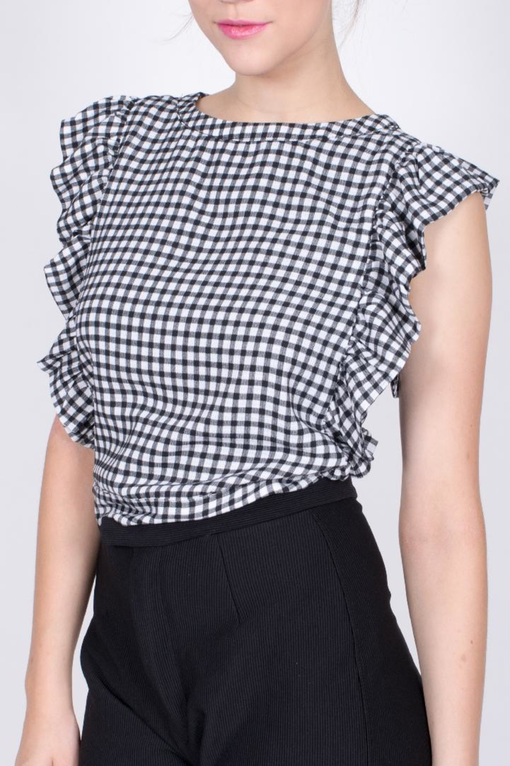 Sugarlips Gingham Ruffle Crop Top - Front Cropped Image