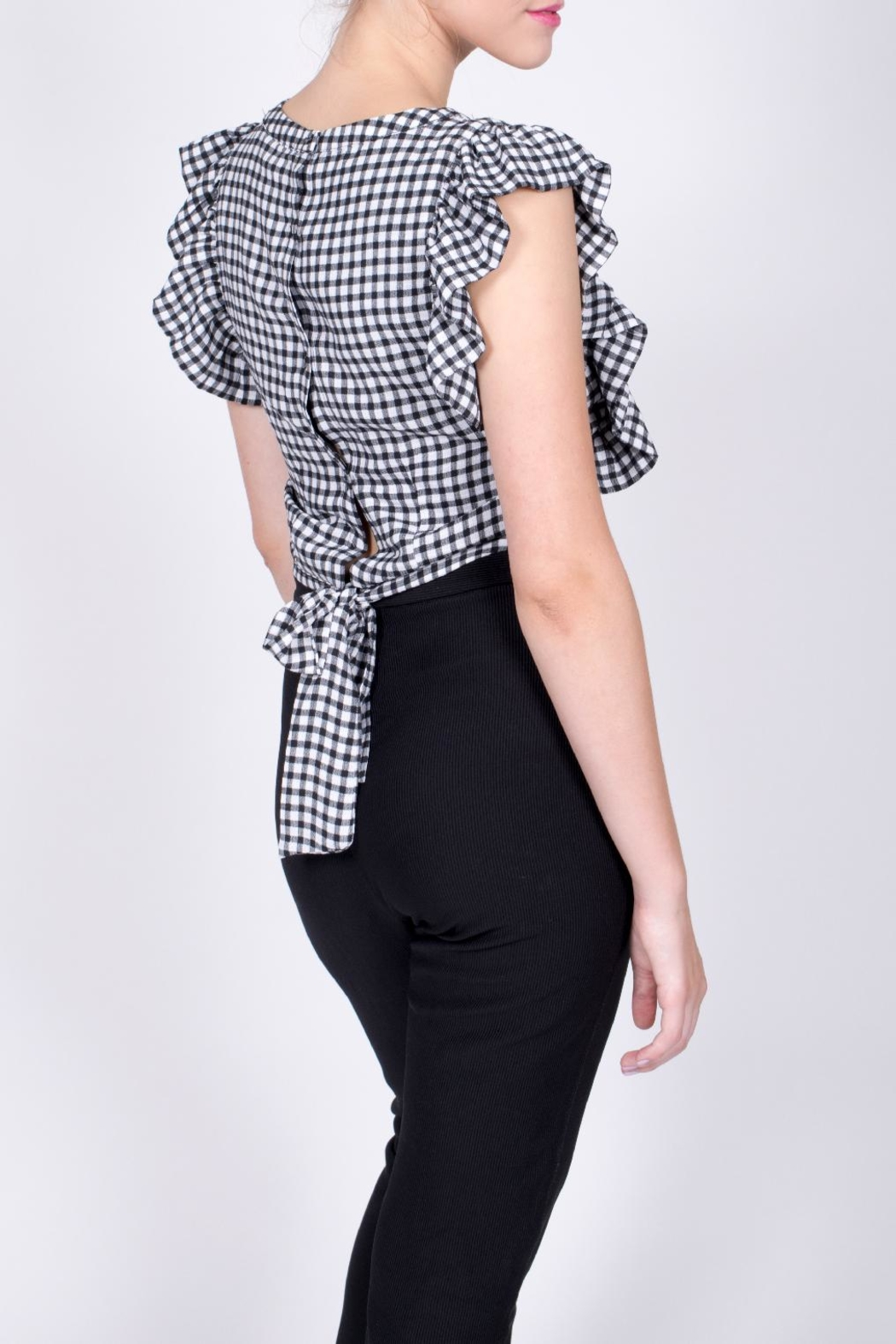 Sugarlips Gingham Ruffle Crop Top - Front Full Image