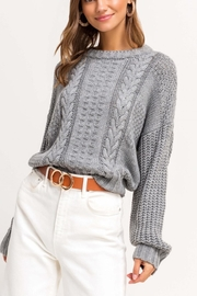 Sugarlips Grey Cable-Knit Sweater - Product Mini Image